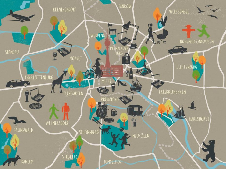 carlgoes, city guides for curious and creative people, stadtplan, Illustration, Berlin